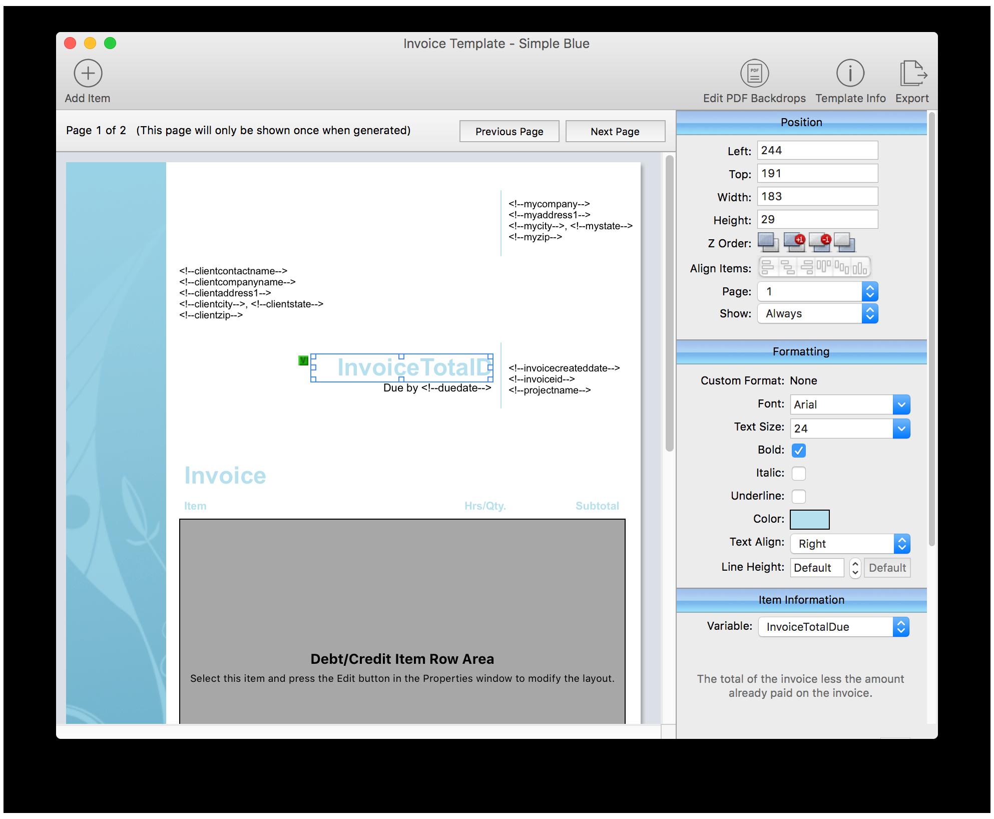 Invoice Template Editor
