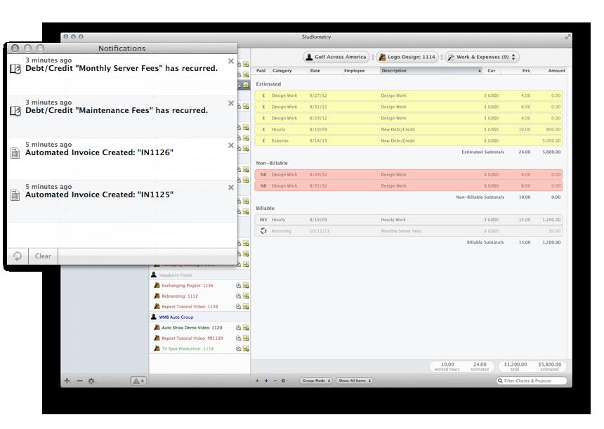 Studiometry for Mac OS X screenshot